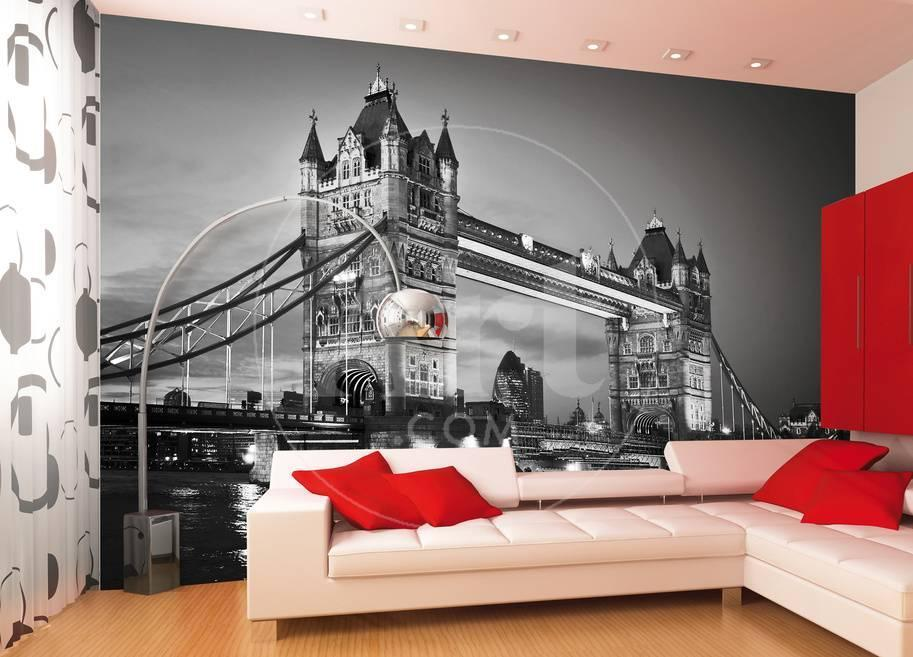 London Tower Bridge Schwarz Weiss Fototapete Wandgemälde bei ...