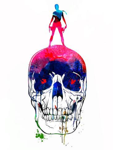 Lara and the Skull Watercolor Kunstdruck
