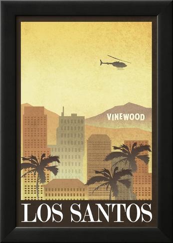 Los Santos Retro Travel Poster Laminiertes gerahmtes Poster