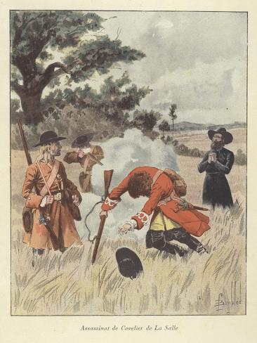 The Killing of Rene-Robert Cavelier De La Salle, 1687 Giclée-Druck