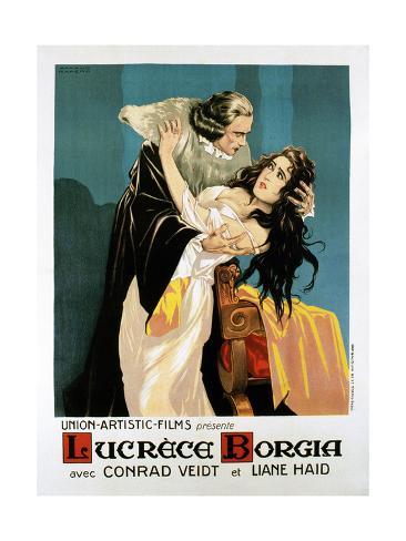Lucrezia Borgia, (AKA Lucrece Borgia), French Poster, from Left: Conrad Veidt, Liane Haid, 1922 Giclée-Druck
