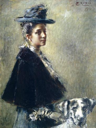 Portrait of Mrs Torelli or Lady with Dog Giclée-Druck