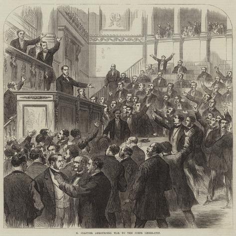 M Ollivier Announcing War to the Corps Legislatif Giclée-Druck