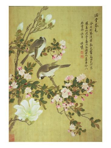 Crabapple, Magnolia and Baitou Birds Gicléedruk