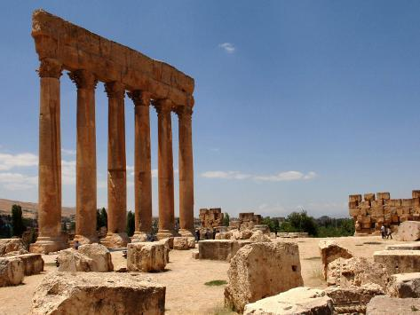 Ancient Roman Ruins of Baalbek, North-East of Beirut, in the Bekaa Valley, Lebanon, July 3, 2006 Fotografie-Druck