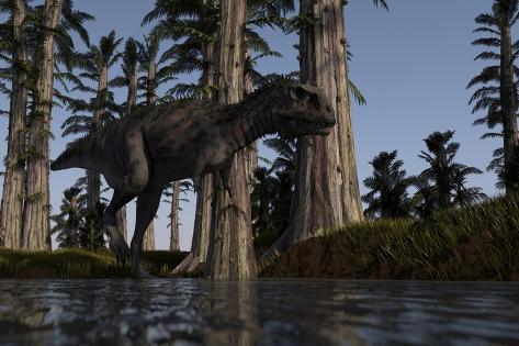 Majungasaurus Hunting for Food in a Prehistoric Environment Kunstdruck