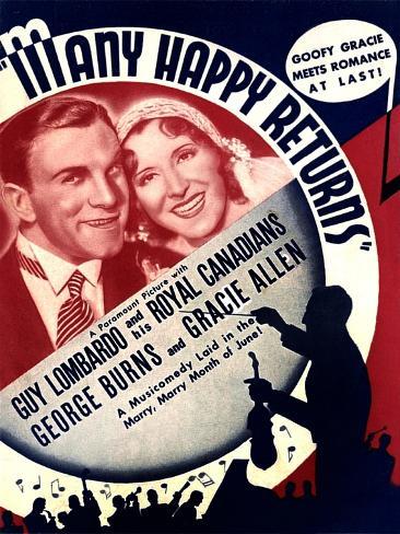 MANY HAPPY RETURNS, US ad art, from left: George Burns, Gracie Allen, Guy Lombardo, 1934 Kunstdruck