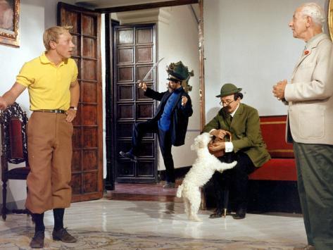 Georges Wilson, Georges Loriot and Jean-Pierre Talbot: Tintin et Les Oranges Bleues, 1964 Fotografie-Druck