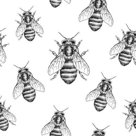 Bees Texture. Seamless Pattern Kunstdruck
