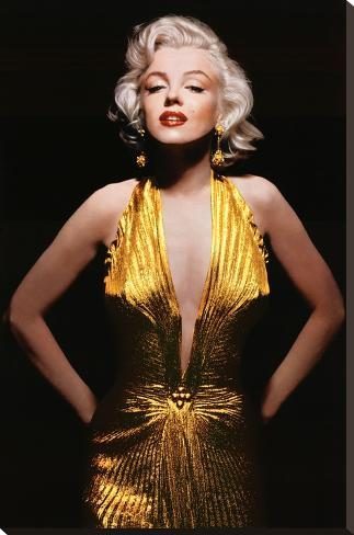 Marilyn Monroe (Gold Dress, Tinted) Movie Poster Print Bedruckte aufgespannte Leinwand