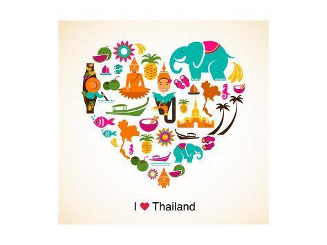 Thailand Love Heart With Thai Icons And Symbols Kunst Van Marish