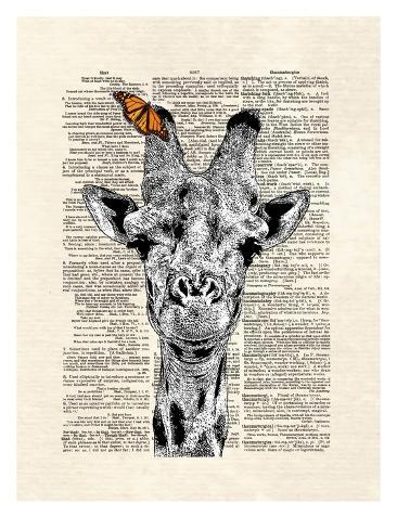 Butterfly Giraffe Kunstdruck