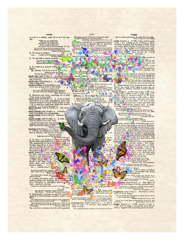 Elephant Butterflies Kunstdruck