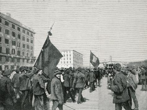 May 1, 1891, Rome, Workers' Associations Go to the Rally Giclée-Druck