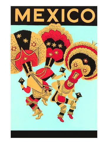 Mexico: 3 Male Dancers with Headdresses Kunstdruck