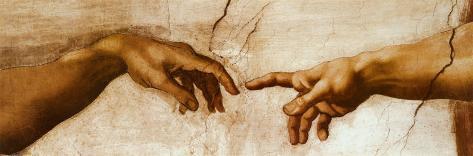 Die Erschaffung Adams, ca. 1510 (Detail) Poster