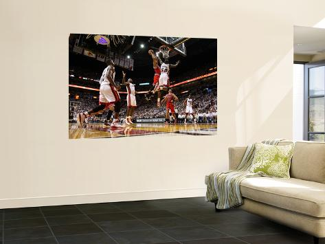 Chicago Bulls v Miami Heat - Game FourMiami, FL - MAY 24: Derrick Rose, Joel Anthony, LeBron James Giant Art Print