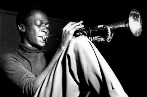Miles Davis- Sitting With Trumpet Poster