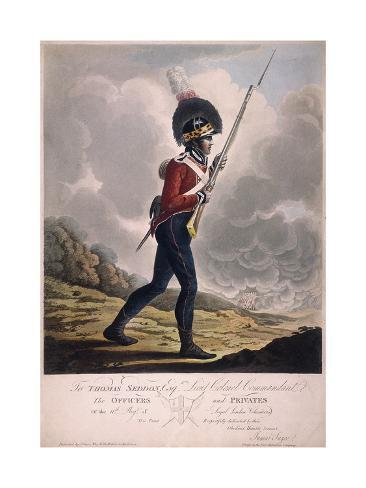 Military Figure in the Uniform of the Eleventh Regiment of the Loyal London Volunteers, 1804 Giclée-Druck