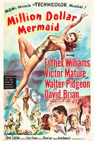 Million Dollar Mermaid, Esther Williams, Victor Mature, David Brian, 1952 Kunstdruk