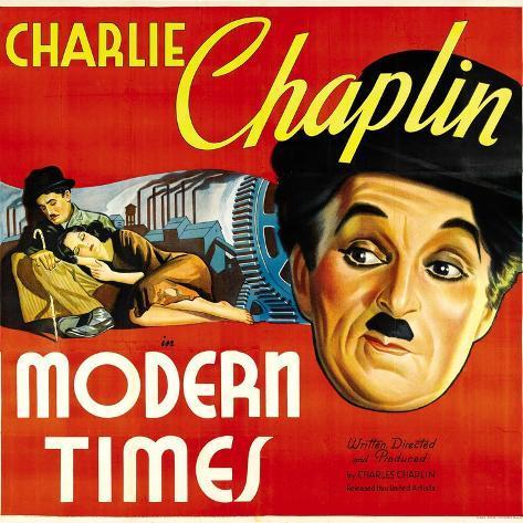 Modern Times, Charlie Chaplin, Paulette Goddard, 1936 Kunstdruck