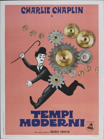 Modern Times, Italian Movie Poster, 1936 Kunstdruck