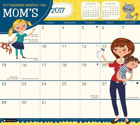 Mom's Magnetic - 2017 Monthly Calendar Pad Kalenders
