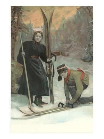 Mother and Son Preparing to Ski Kunstdruck