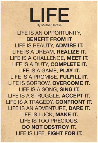 Mother Teresa Life Quote Poster Posters Bij Allpostersnl