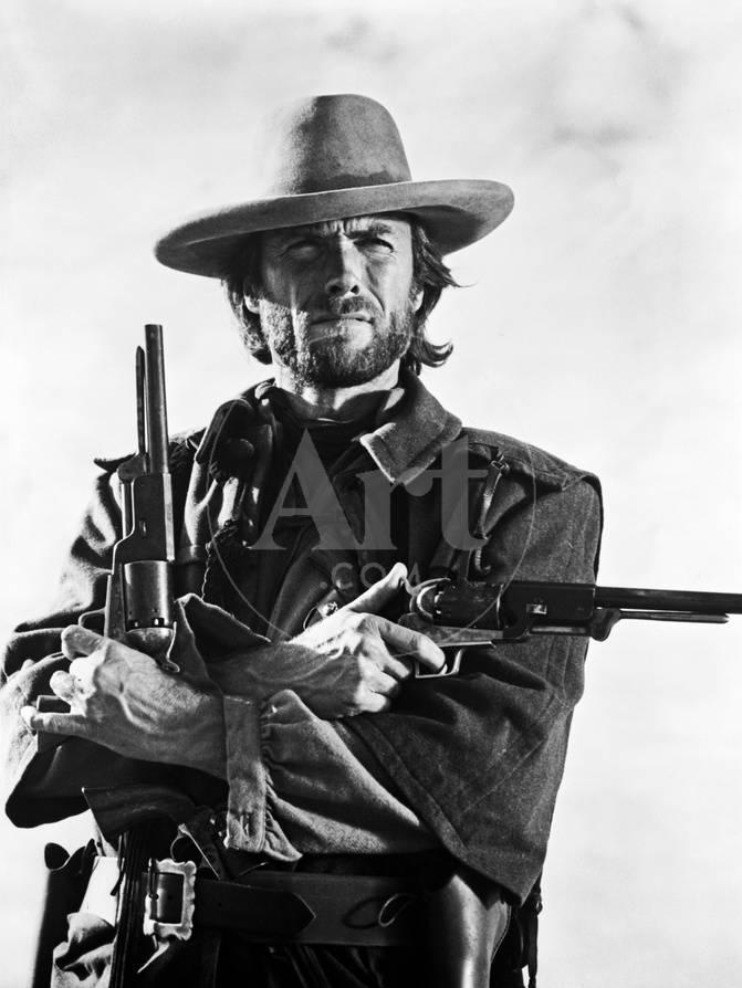 Clint Eastwood Posed in Cowboy Attire with Two Pistol Foto von Movie ...