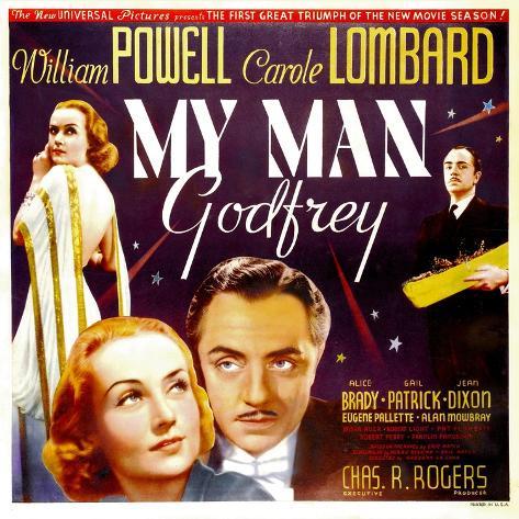 My Man Godfrey, Carole Lombard, William Powell, 1936 Kunstdruck