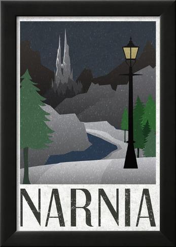 Narnia Retro Travel Poster Laminiertes gerahmtes Poster