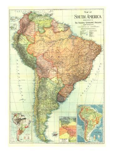 1921 South America Map Kunstdruck von National Geographic Maps bei ...
