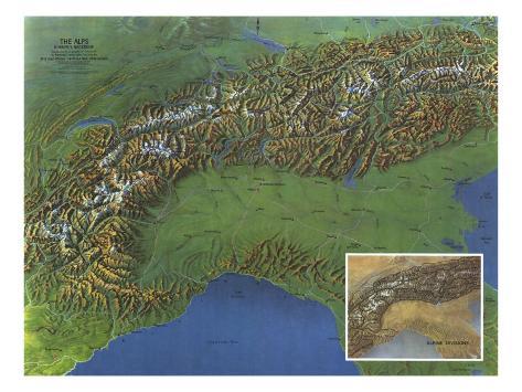 1965 Alps, Europes Backbone Map Kunst von National Geographic Maps ...