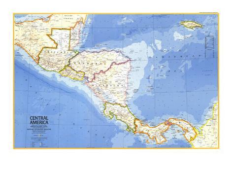 1973 Central America Map Kunstdrucke von National Geographic Maps ...