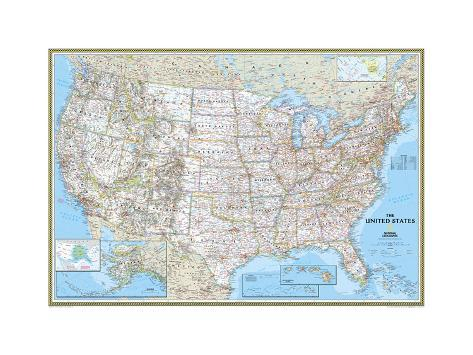 politische landkarte der usa poster von national geographic maps bei. Black Bedroom Furniture Sets. Home Design Ideas