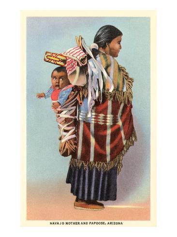 Navajo Mother and Papoose Giclée-Premiumdruck