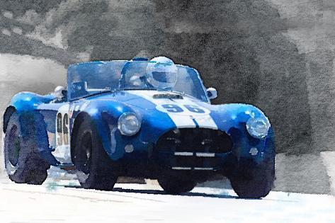 1964 AC Cobra Shelby Racing Watercolor Plastikschild