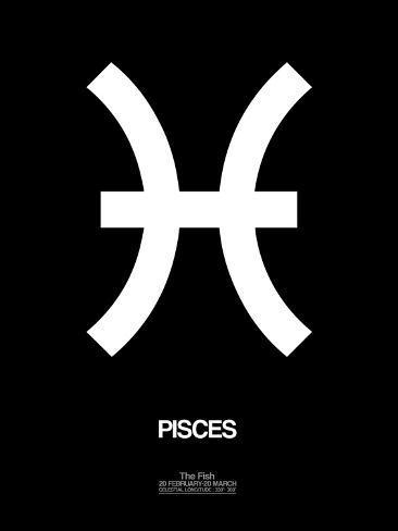 Pisces Zodiac Sign White Kunst Van Naxart Bij Allposters