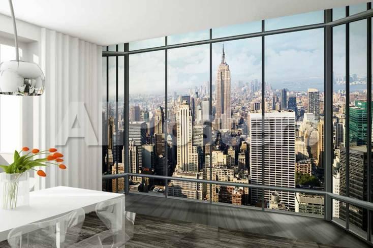 Fototapete fensterblick skyline  New York Blick aus dem Fenster Skyline Fototapete Wandgemälde bei ...