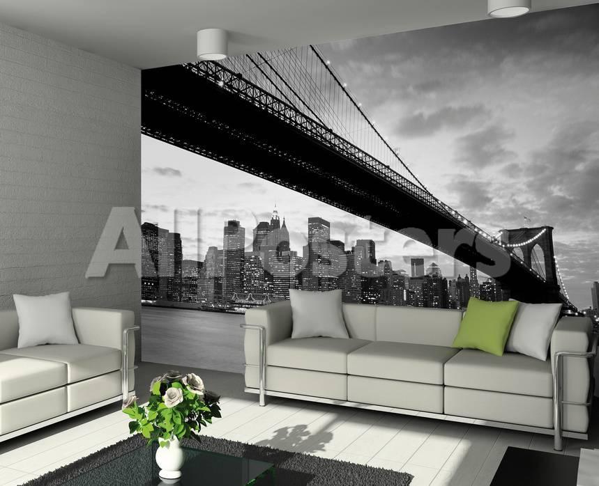 New York Brooklyn Bridge Schwarz Weiss Fototapete Wandgemälde bei ...