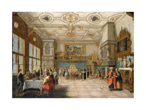 Lazarus at the Door of a Banqueting Hall with Elegant Figures Dining, 1622 Giclée-Druck