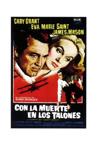 North by Northwest, (aka Con La Muerte En Los Talones), Spanish Poster Art, 1959 Giclée-Druck
