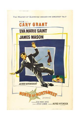 North by Northwest, Cary Grant, Eva Marie Saint on Poster Art, 1959 Giclée-Druck