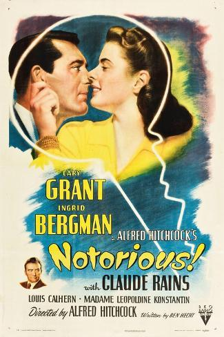 NOTORIOUS, Cary Grant, Ingrid Bergman, Claude Rains, 1946 Kunstdruck