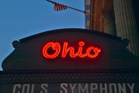 Ohio Theater marquee theater sign advertising Columbus Symphony Orchestra in downtown Columbus, OH Fotografie-Druck