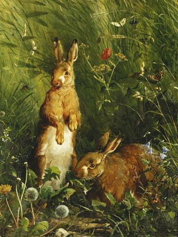 Hares, 1878 Giclée-Druck