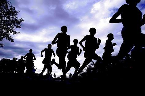 Runners During the Amsterdam Marathon Fotografie-Druck