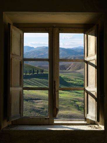 Outside View of Cypress Trees and Green Hills Through a Shabby Windows Fotografie-Druck