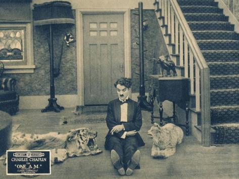ONE A.M., Charlie Chaplin on lobbycard, 1916 Kunstdruck
